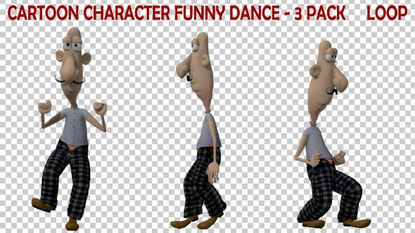 Thumbnail for Cartoon Figur Funny Dance - 3er Pack