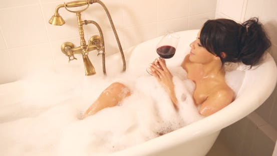 Thumbnail for Woman with Wine in Bath