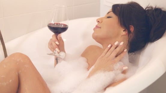 Thumbnail for Pretty Woman with Wine in Bath