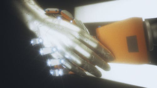 Representation of License Agreement Human And Robot Hand Shaking
