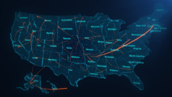 Thumbnail for USA Map Network Connection