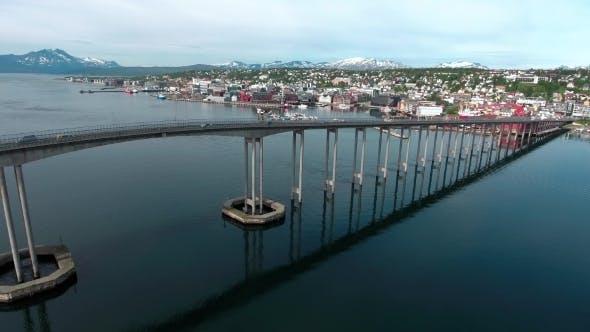 Bridge of City Tromso, Norway Aerial Footage