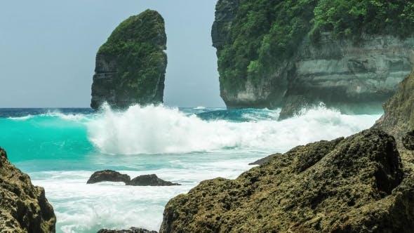Thumbnail for Rock in Tembeling Coastline. Ocean Waves Moving Toward the Coast at Nusa Penida Islan. Bali