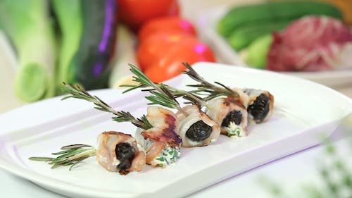 Roasted Bacon Rolls Stuffed with Prunes and Cheese