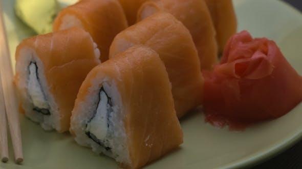Thumbnail for Triangular Sushi Rolls Philadelphia on a Plate