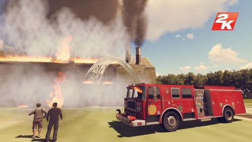 Burning house and fire brigade