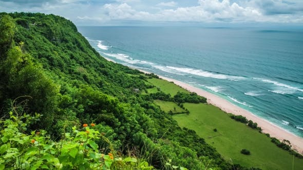 Thumbnail for Moving Waves on Nunggalan Beach Coastline, Uluwatu, Bali, Indonesien