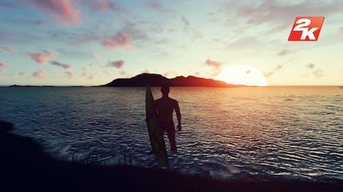Sunset Surfer Man