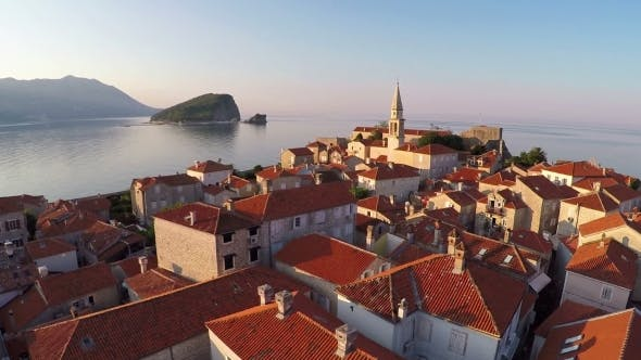 Thumbnail for Flying Above the Old Town of Budva, Montenegro