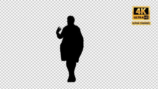 Thumbnail for Fat Woman Dancing Silhouette with Transparency-3