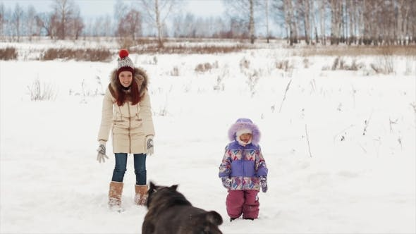 Thumbnail for Happy Family Playing with a Dog in Winter