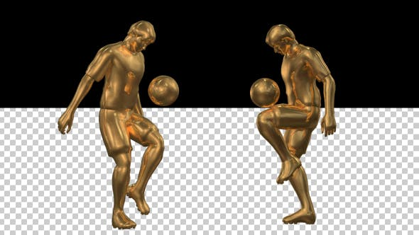 Cover Image for Golden Soccer Player Knee Kick - 2 Scene