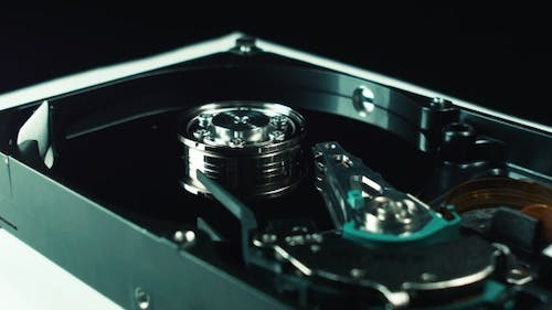 Electronics, Hard Disk Storage Information. Binary Code. Computer Techologies. Detail of a . Spindle