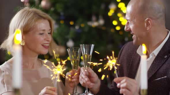 Thumbnail for Loving Middle-Aged Caucasian Couple Wishing Happy New Year