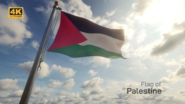 Palestine Flag on a Flagpole - 4K