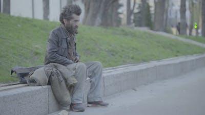 Beggar Homeless Man Tramp. Poverty. Vagrancy. Kyiv. Ukraine.
