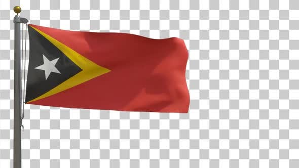 Thumbnail for East Timor Flag on Flagpole with Alpha Channel