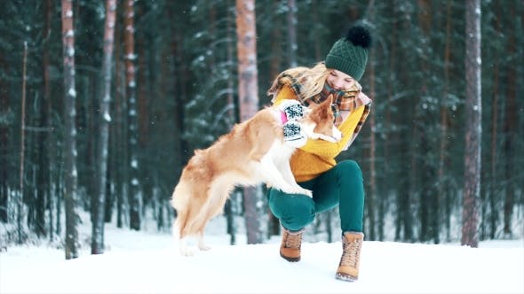 Thumbnail for Beautiful Girl with a Dog in the Winter Wood