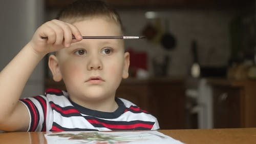 Child Use Tassel. Kid Draw Paints