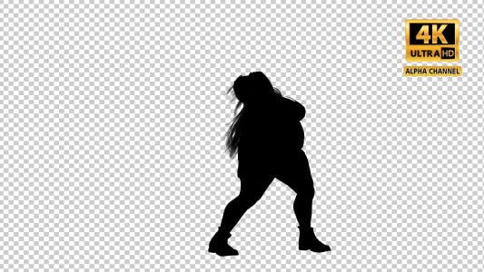 Thumbnail for Overweight Woman Dancing Silhouette-4