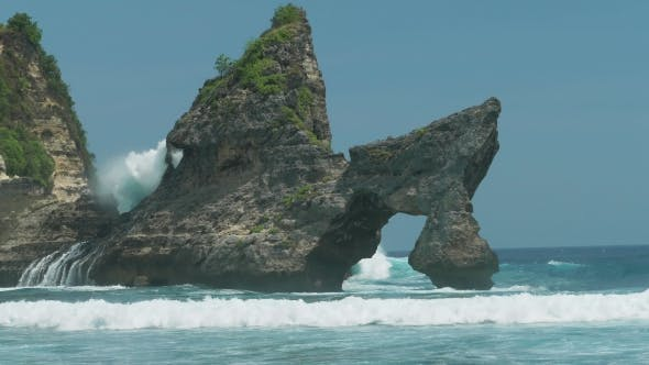 Thumbnail for Huge Wave Hitting the Rock in the Ocean at Atuh Beach on Nusa Penida Island, Indonesia