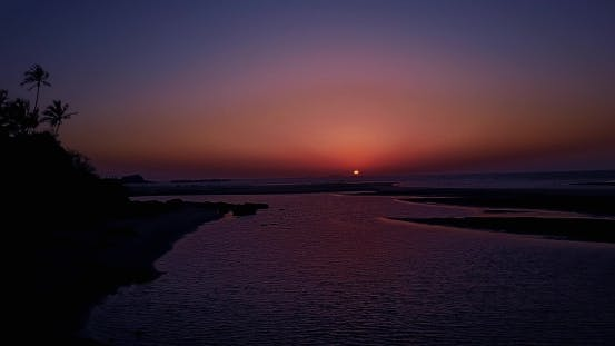 Thumbnail for Drone Flying Over Sea and Purple Sunset, India