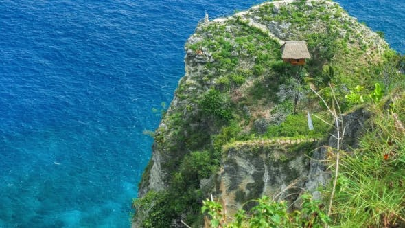 Thumbnail for Hut and View Point on the Cliff Edge in the North Coast of Nusa Penida, Bali, Indonesia