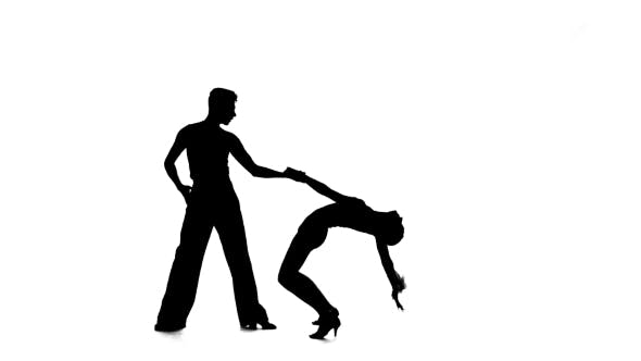 Thumbnail for Rumba in Perform Silhouette Couple Professional Dancers on White Background