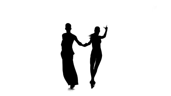 Thumbnail for Dance Element From the Salsa, Silhouette Couple Ballroom. White Background