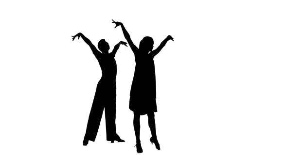 Thumbnail for Couple Silhouette Professional Dancing Latino on White Background, Alpha Channel
