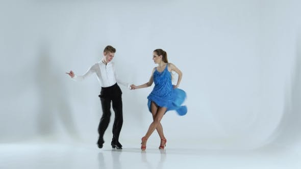 Thumbnail for Couple of Graceful Dancers Perform Rumba on White Background, Shadow