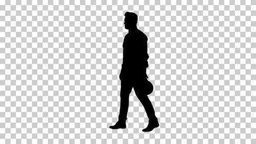 Silhouette man putting on hardhat helmet, Alpha Channel