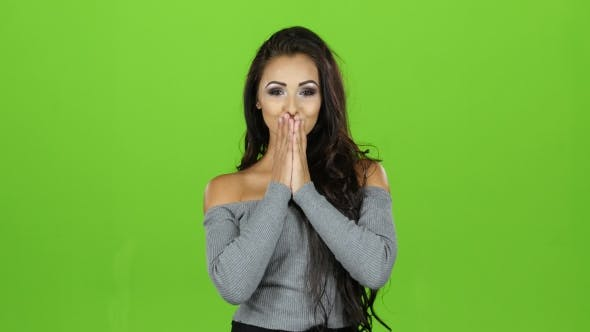 Thumbnail for Air Kiss From a Sexy Brunette Woman, Green Screen Background