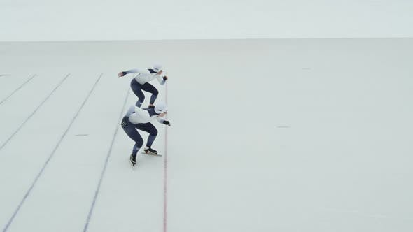 Thumbnail for Speed Skaters Racing in Ice Rink