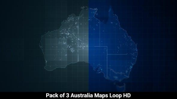 Thumbnail for Pack of Australia Maps Loop HD