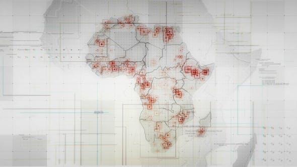 White Africa Map with Lines Rollback Camera 4K von rodionova auf Envato  Elements