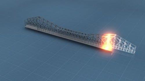 Representation Of Bridge Construction In Blueprint Hd