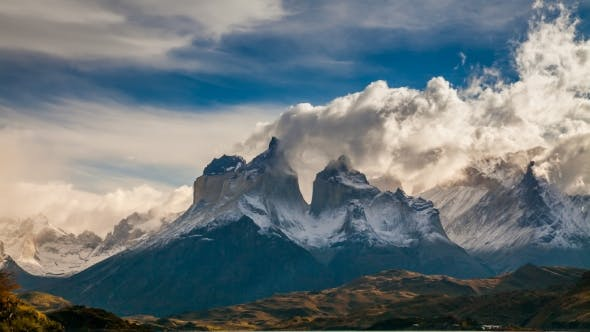 The Movement of Clouds Over the Towers of Cuernos Parque Torres Del Paine, Patagonia