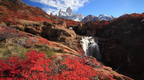 Beautiful View with Waterfall and Fitz Roy Mountain Patagonia
