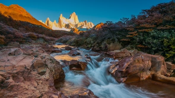 Thumbnail for Fitz Roy Mountain in Sunrise Lights. Los Glaciares National Park, Patagonia, Argentina