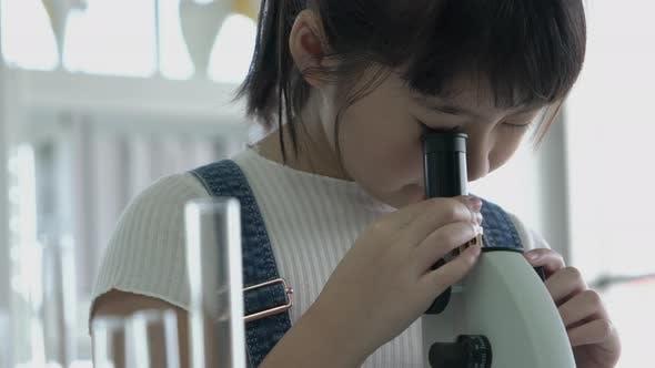 Girl looking microscope