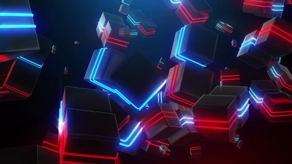 Thumbnail for Abstract Blue and Red Neon Squares