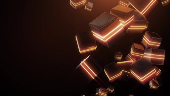 Thumbnail for Abstract Orange Neon Squares