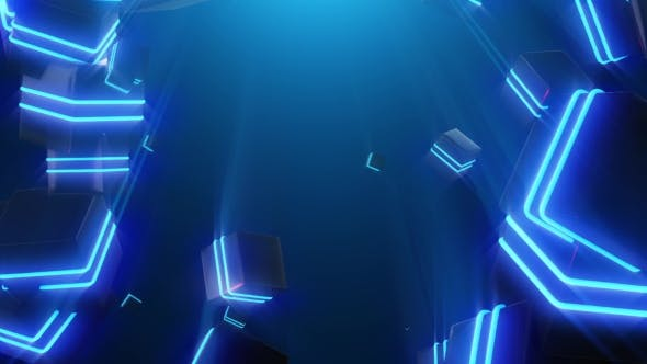 Thumbnail for Abstract Blue Neon Squares