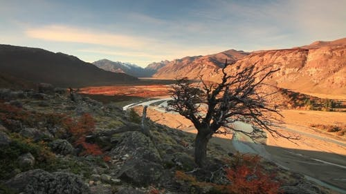 Sunset in a Mountain Valley. Patagonia, Argentina