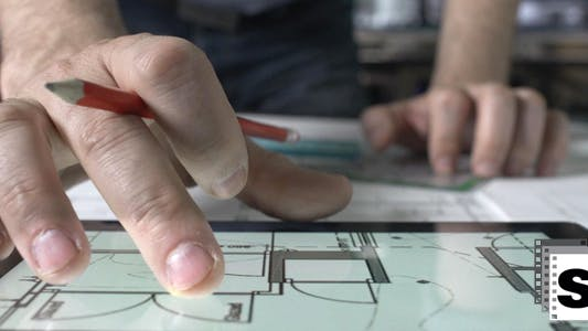 Thumbnail for Architect Using Tablet in Office