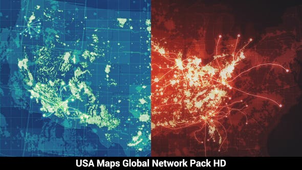 Thumbnail for Pack of 3 USA Maps Global Network HD