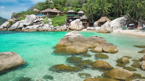 Blue Bay with Granite Stones and Palm Trees on Luxury Exotic Beach in Tropical Island, Koh Tao