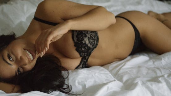 Thumbnail for Coquettish Brunette Posing in Underwear