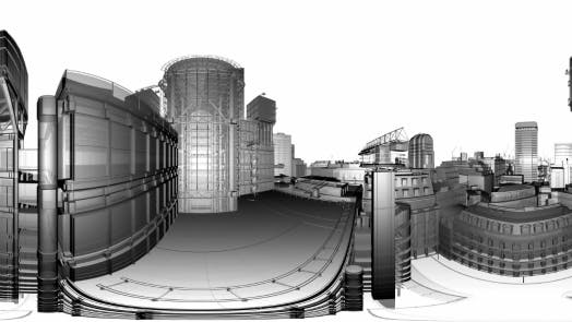 Thumbnail for VR 360 Wireframe City Buildings